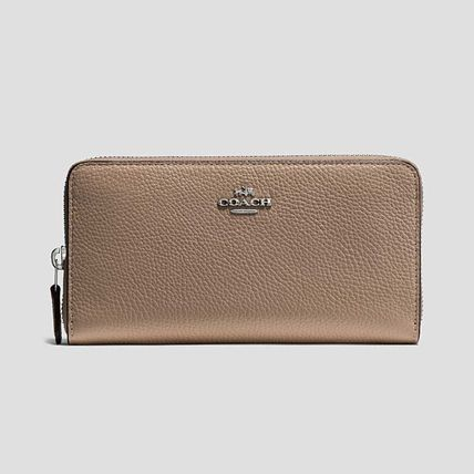 COACH AccordionZipWallet In Polished Pebble Leather ベージュ