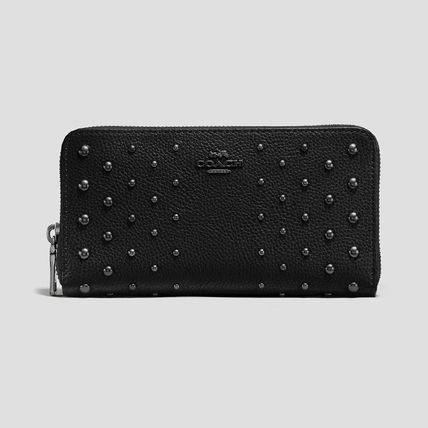 COACH  Wallet In Polished Pebble Leather With OmbreRivets BK