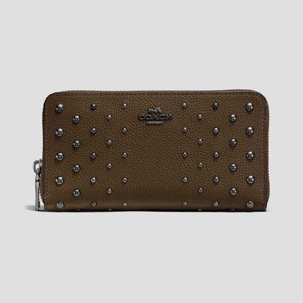 COACH  Wallet In Polished Pebble Leather With OmbreRivets KH