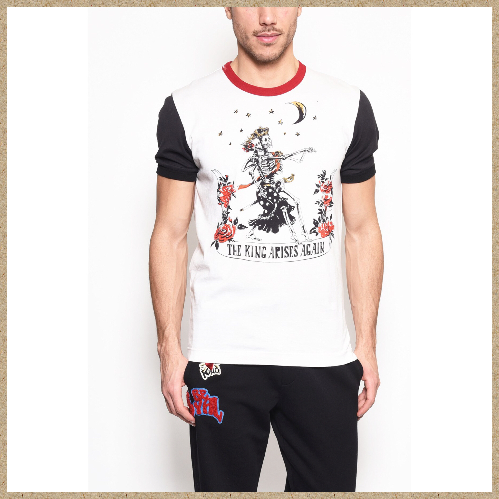 新作【Dolce & Gabbana】SKELETONS AND MOON プリント Tシャツ