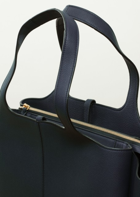 【CELINE】Dark sea grained leather medium Tri-Fold Bag