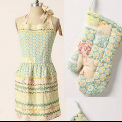 Sewing Basket Apron エプロンとオーブンミット2点セット 即納