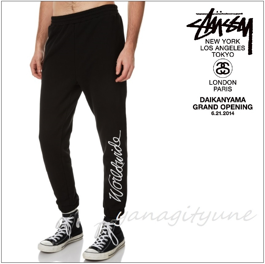 "【STUSSY】Worldwide Fleece Mens トラックパンツ  ""SOLID BLACK"