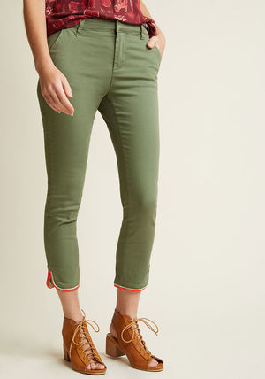 trimmed stretch chino skinnies in olive