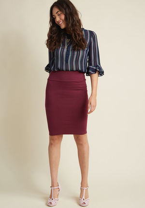 solid stretch knit pencil skirt in maroon