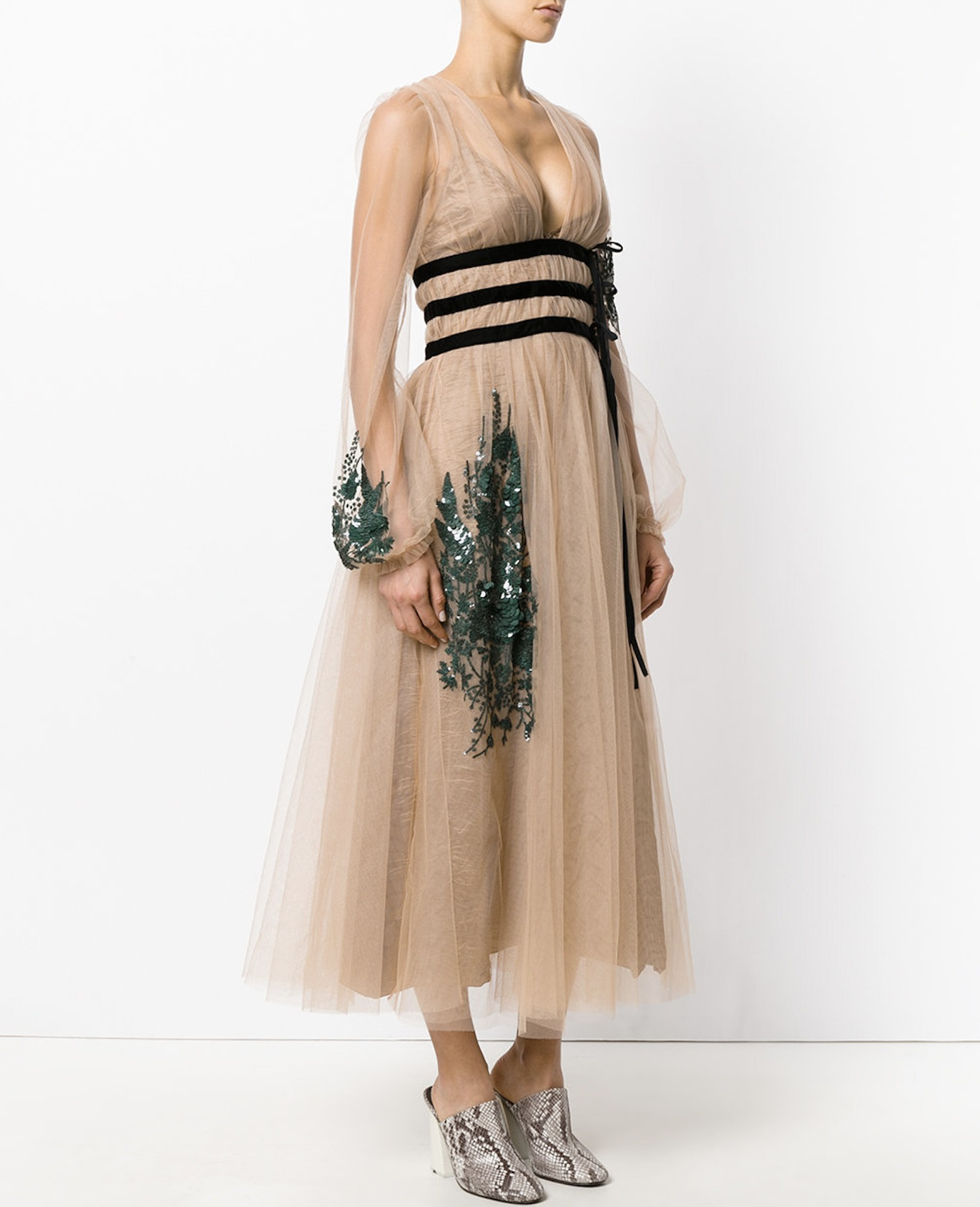 17-18AW NV013 LONG TULLE DRESS WITH SEQUINED EMBELLISHMENT