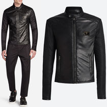 17-18AW DGM015 SHEEP LEATHER & NYLON BIKER JACKET
