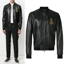 17-18AW DGM016 LAMB LEATHER BOMBER JACKET WITH APPLIQUE