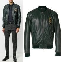 17-18AW DGM019 LAMB LEATHER BOMBER JACKET WITH APPLIQUE