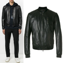 17-18AW DGM020 LAMB LEATHER BOMBER JACKET WITH ZIP DETAIL