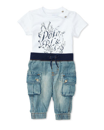 Cotton Tee & Denim Jogger Set