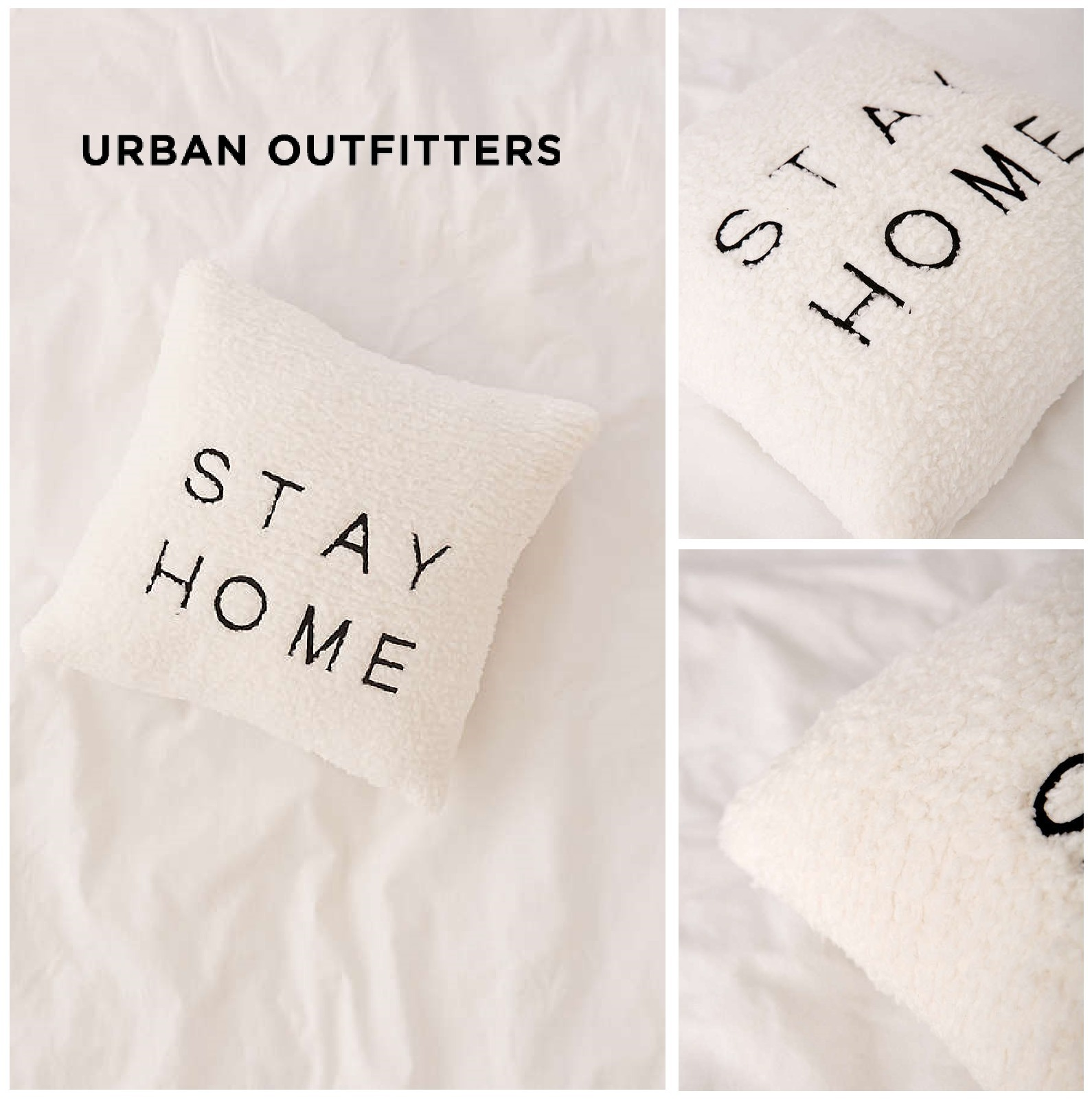 Urban Outfitters☆Embroidered Amped Fleece Throw Pillow