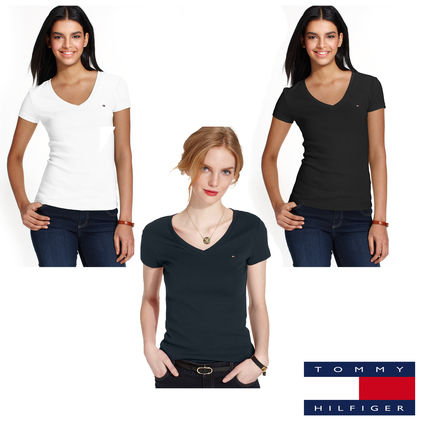 Tommy Hilfiger Tシャツ・カットソー SALE!Tommy Hilfiger  新作 トミロゴ Vネック Tシャツ3色