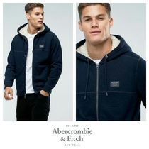 Abercrombie & Fitch Zipfront Hoodie Borg Lined in Navy