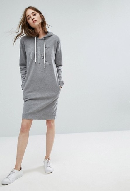 Calvin Klein Jeans Logo Sweater Dress with Hood♪