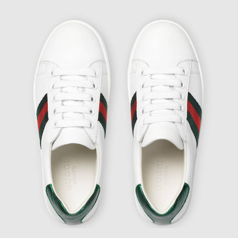 【GUCCI(グッチ)】子供 スニーカー leather low-top with Web