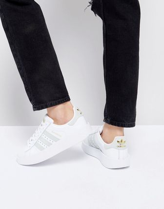 adidas White And Mint Superstar Bold Sole Trainer
