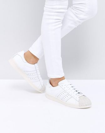 adidas Originals White Superstar 80S Trainers With Cork Toe