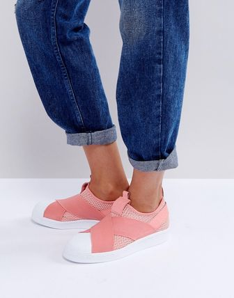 adidas Coral Superstar Slip On Trainers