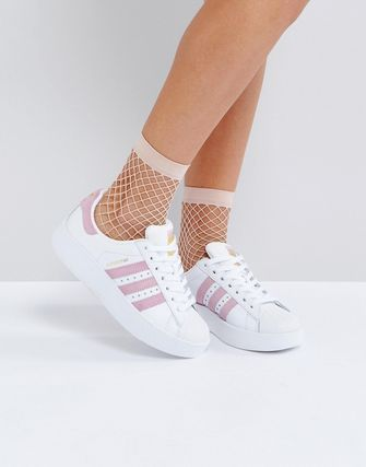 adidas White And Pink Superstar Bold Sole Trainer