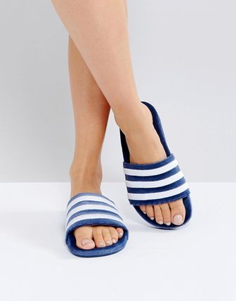 adidas Originals Adilette Velvet Slider Sandals In Blue