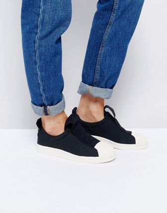 adidas Originals Black Superstar Slip On Trainers With Bold