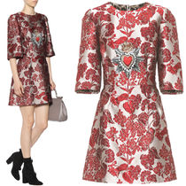 17-18AW DG1279 FLORAL JACQUARD DRESS WITH SACRED HEART