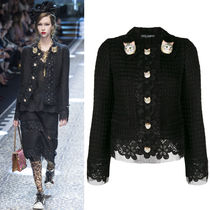 17-18AW DG1284 LOOK42 CROPPED TWEED JACKET WITH CAT BUTTON