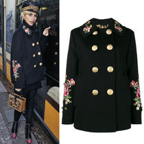 17-18AW DG1287 ANGORA BLEND WOOL PEA COAT WITH EMBROIDERY