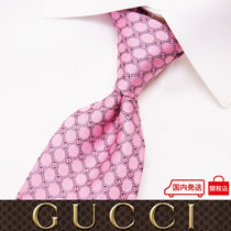 28 GUCCI グッチ 新品本物 総柄 ピンク SILK100% ネクタイ