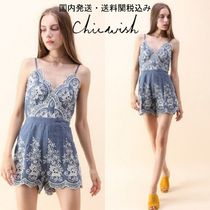 国内発・送関込み☆Chicwish☆Flowery Cami Denim Playsuit