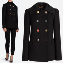 17-18AW DG1288 CREPE WOOL PEA COAT WITH JEWELRY BUTTON