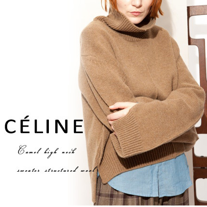 【CELINE】Camel high neck sweater structured wool