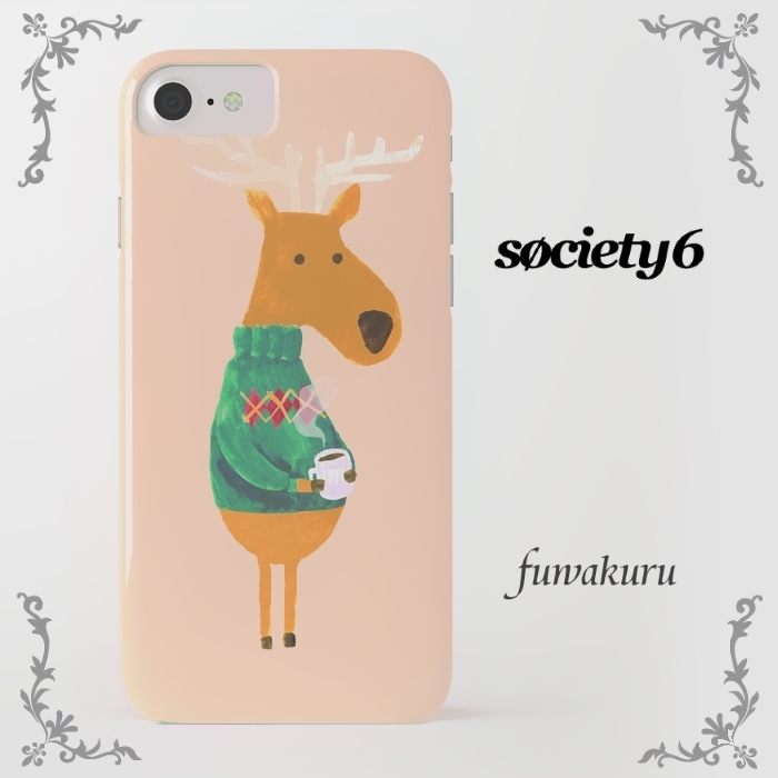 【Society6】iPhone7ケース トナカイプリント他機種変更可★