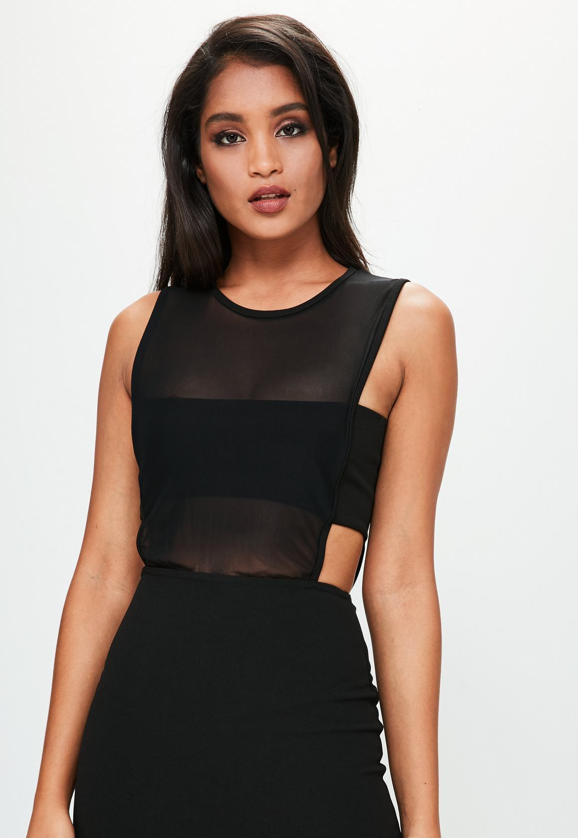 【海外限定】Missguidedマキシドレス☆Black Mesh Top Cut Out F