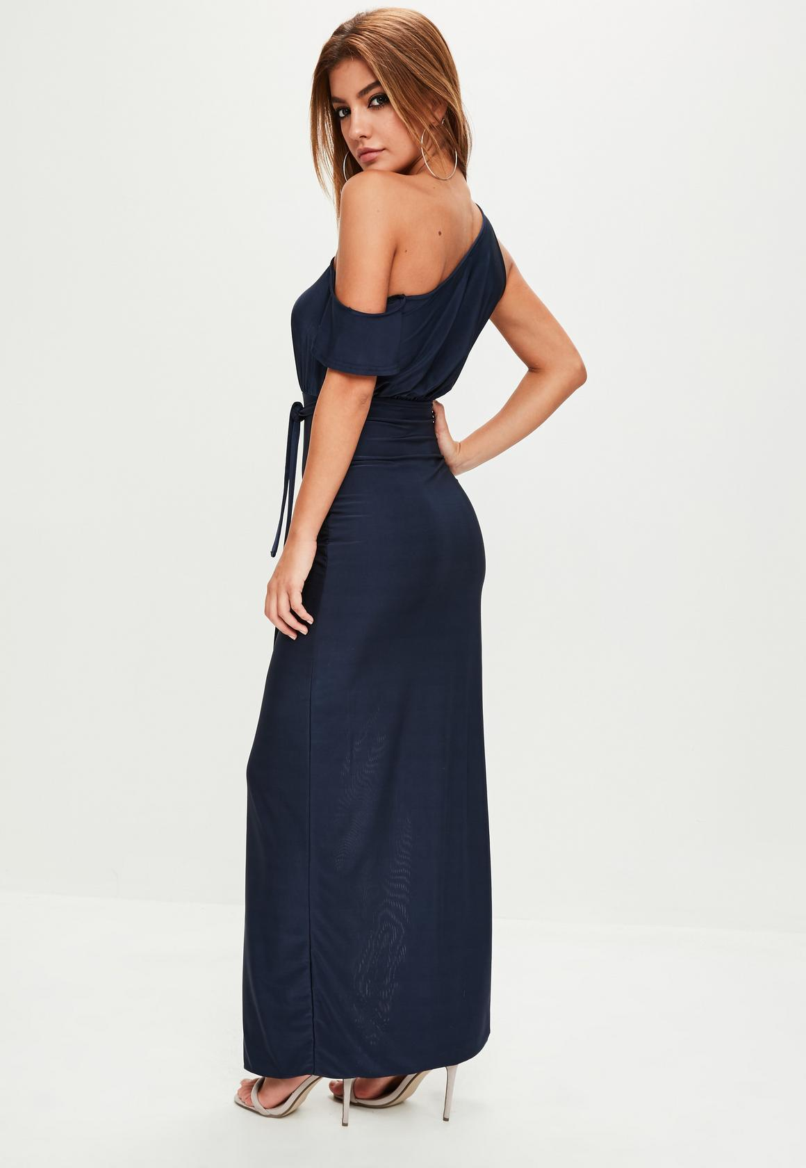 【海外限定】Missguidedマキシドレス☆Navy Slinky One Shoulder