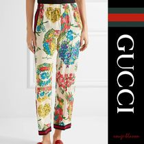 【国内発送】GUCCI パンツ  crepe de chine straight-leg pants