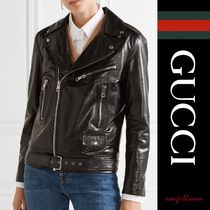 【国内発送】GUCCI ライダース Painted leather biker jacket