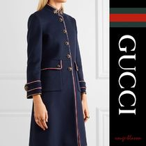 【国内発送】GUCCI コート metallic-trimmed wool-felt coat