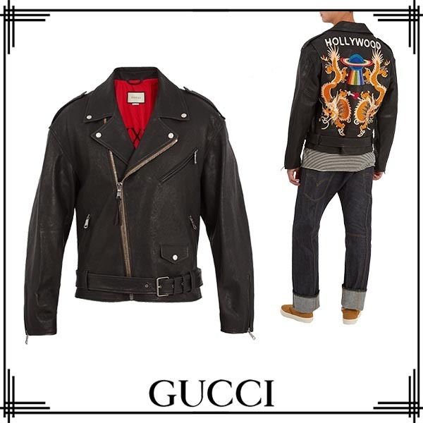 【17AW】GUCCI/Dragon-appliqueレザージャケット
