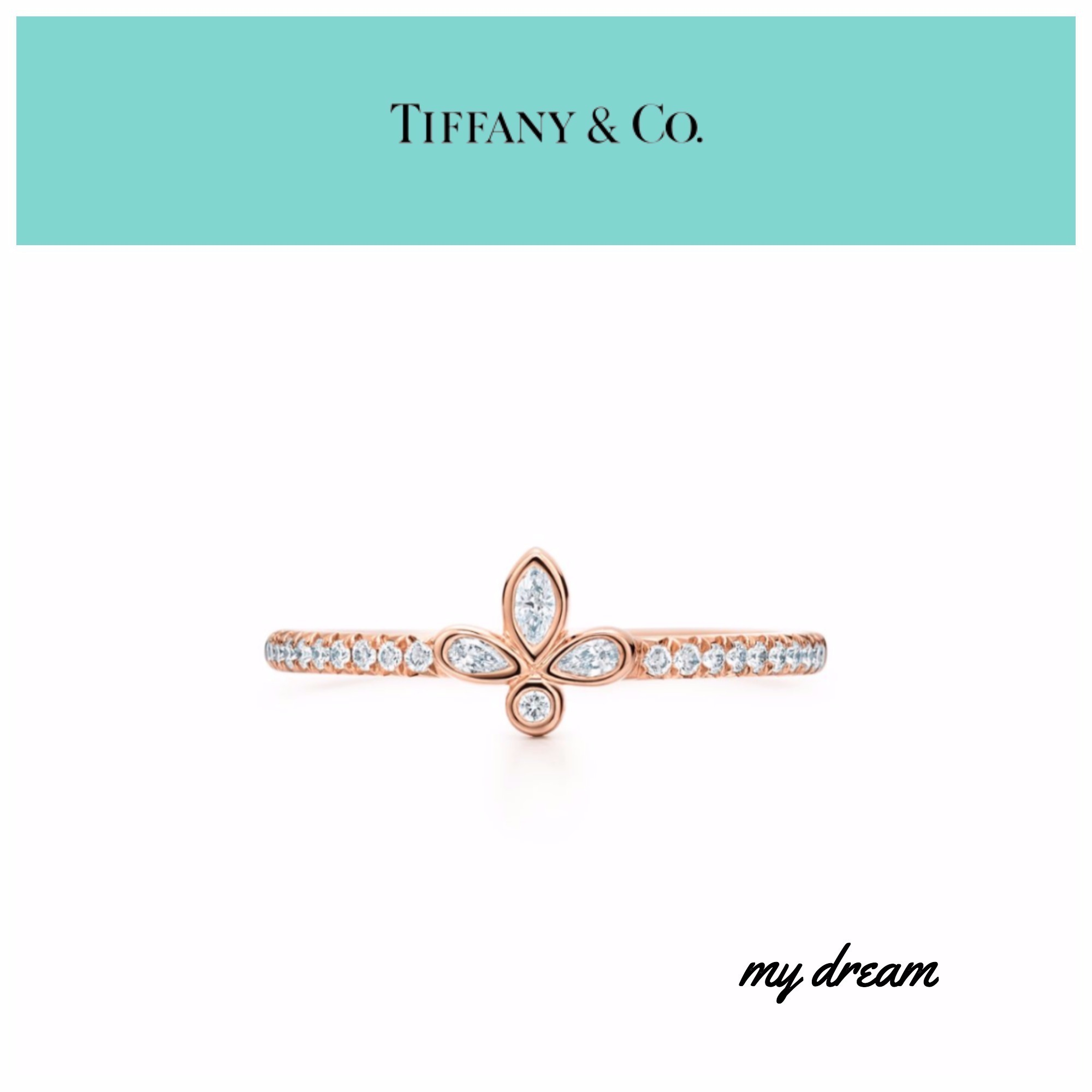 【Tiffany & Co】Fleur de Lis Band Ring with Diamonds RG