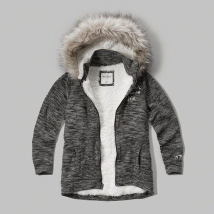 Abercrombie & Fitch キッズその他 ふかふか暖かガールズ  sherpa lined shine  logo hoodie
