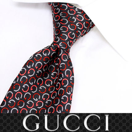 GUCCI ネクタイ 37 GUCCI グッチ 新品本物 総柄 SILK100% ネクタイ