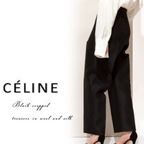 【CELINE】Black cropped trousers in wool and silk