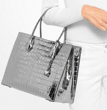 最新★限定品!超人気MK★Mercer Metallic Embossed-Leather Tote