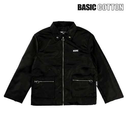 ★BASIC COTTON★正規品/日本未入荷/none zipper jacket(bk)