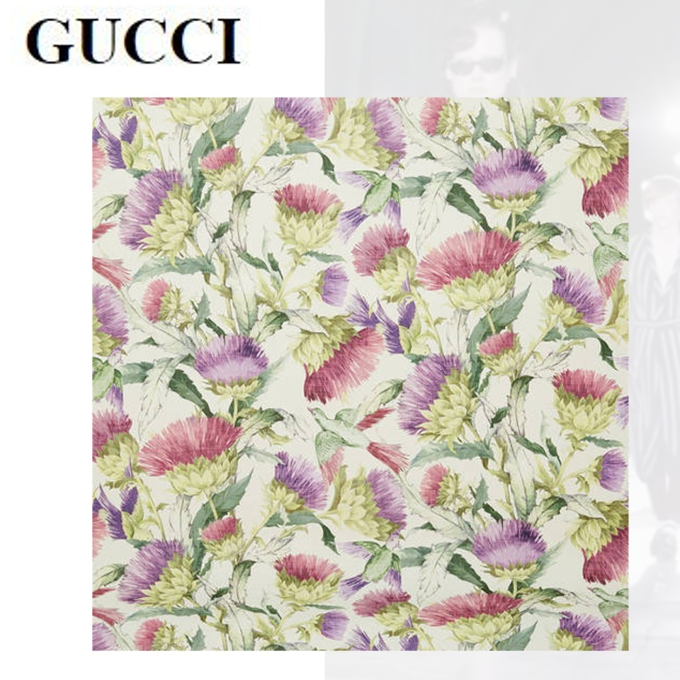 GUCCI  グッチ 国内未入荷 新発売 壁紙 アザミ 鳥 プリント 17AW