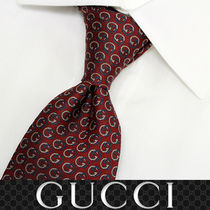 38 GUCCI グッチ 新品本物 総柄 ワインレッド SILK100% ネクタイ