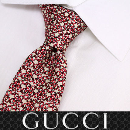 GUCCI ネクタイ 40 GUCCI グッチ 新品本物 総柄 ピンク SILK100% ネクタイ