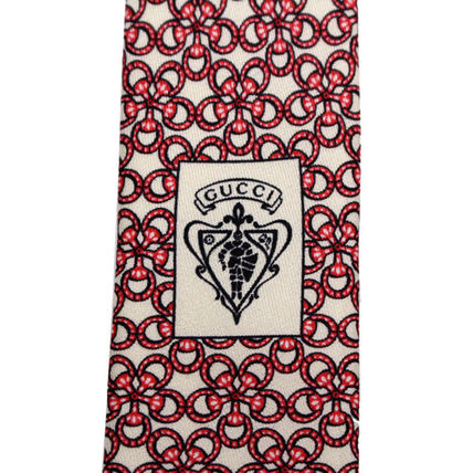 GUCCI ネクタイ 40 GUCCI グッチ 新品本物 総柄 ピンク SILK100% ネクタイ(6)